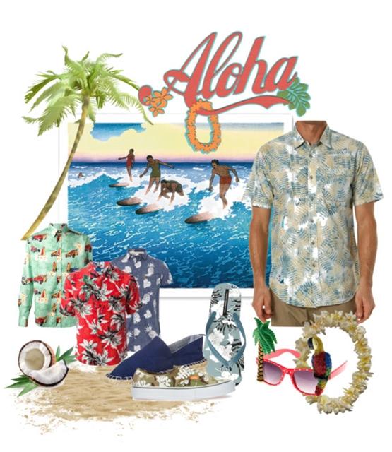 Planche d'inspiration dress code homme mariage hawaïen