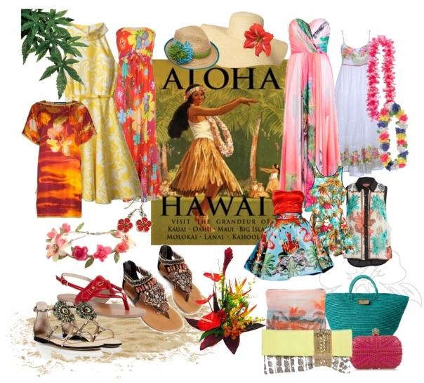Planche d'inspiration dress code femme mariage hawaïen