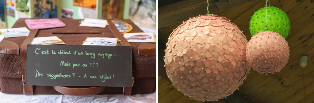 urne valise et boules suspendues déco nature