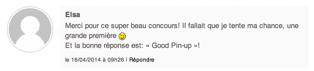 Gagnante Concours Pinup