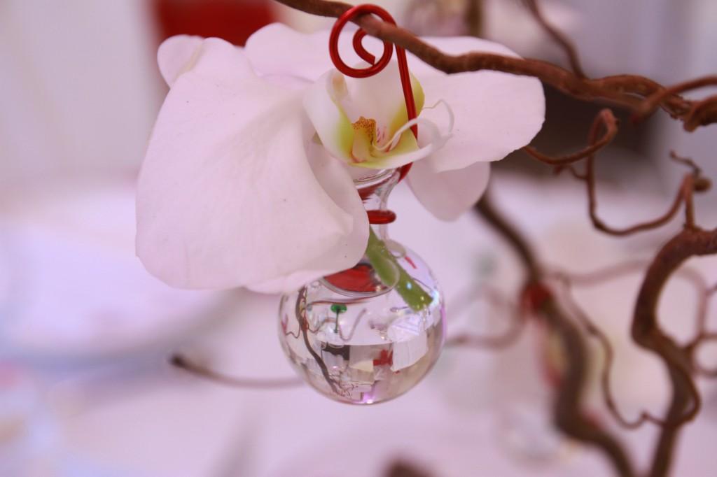 déco de mariage - orchidée dans un vase suspendu