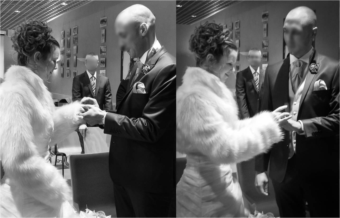Mon mariage enneigé : l'échange des alliances