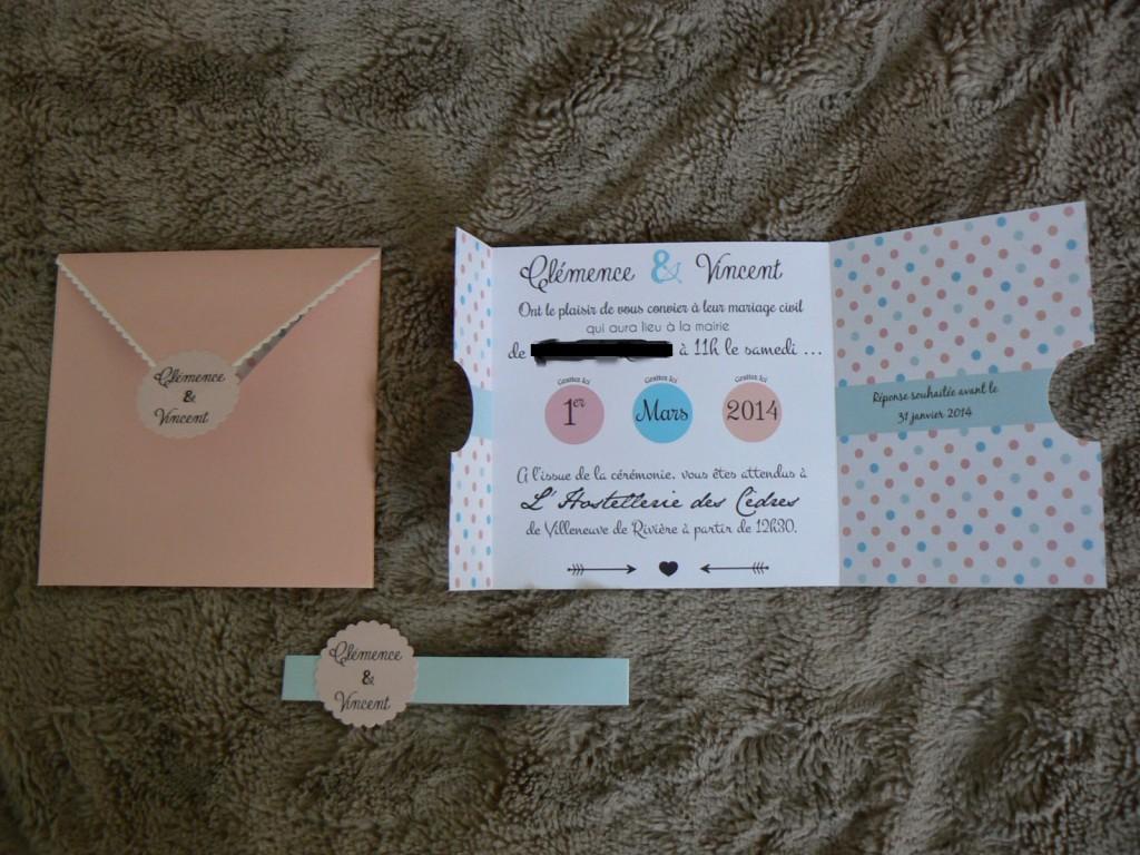 Invitation de notre mariage civil avec des stickers à gratter