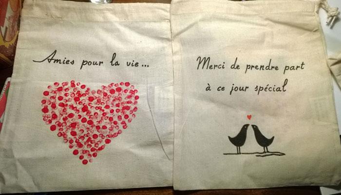Des sacs en toile DIY pour tes kits témoins
