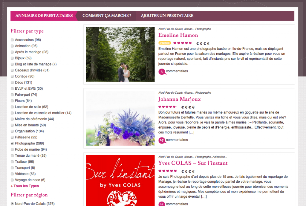 Page catégorie de l'annuaire