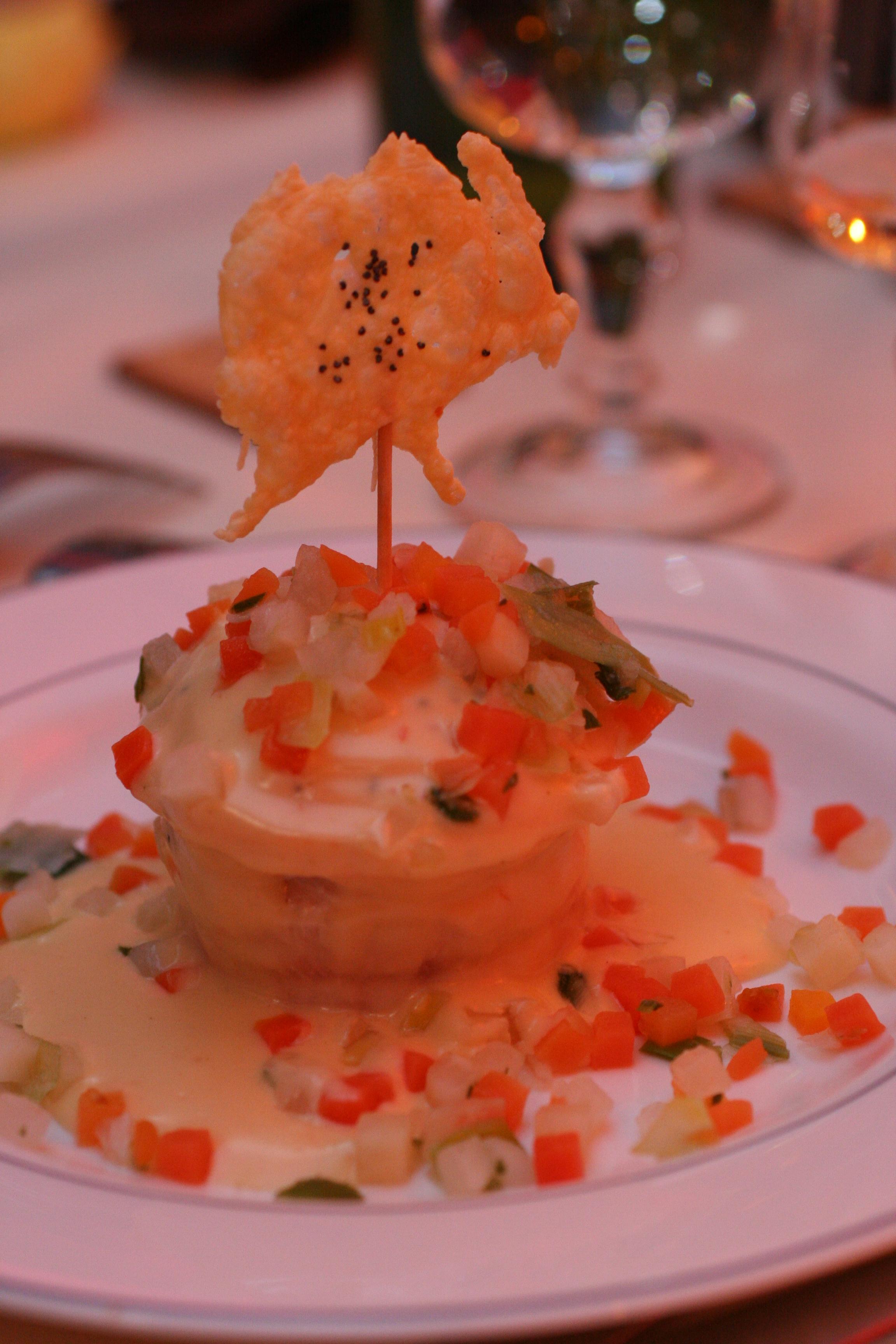 Repas de mariage : gourmandine de saumon au sauté d'écrevisses