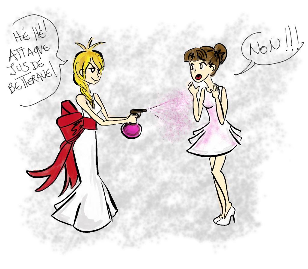 Une invitée qui vient en blanc au mariage ? J'ai la solution : une attaque de jus de betterave !! // Illustration : Mme Yeti