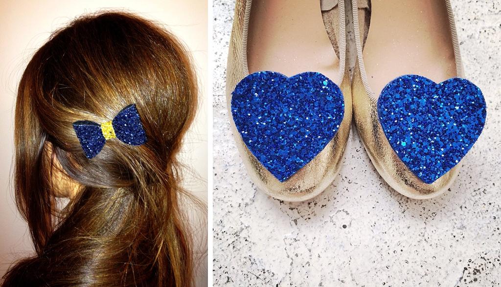 shoe clips et barrette pailletée