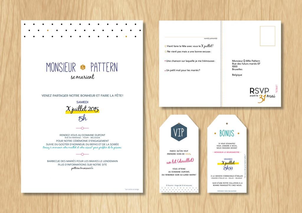 Faire-part mariage Monsieur & Mlle Pattern