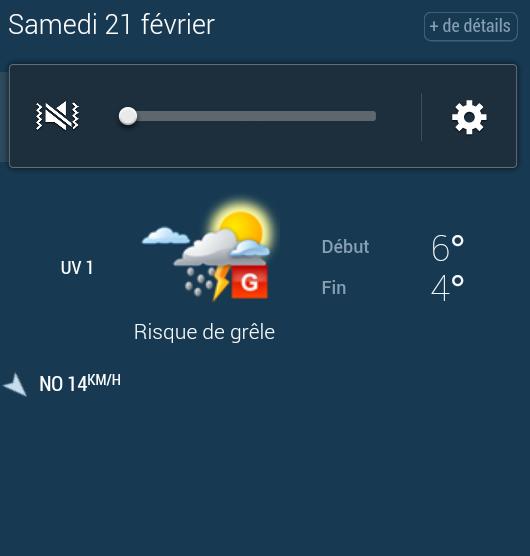 Copie d'écran de la météo le jour de notre mariage