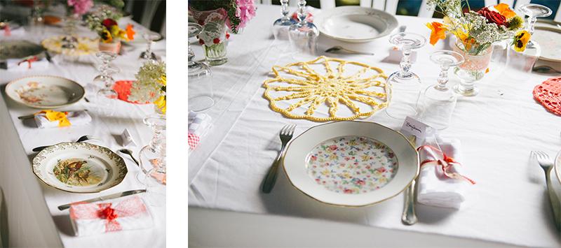 vaisselle chinée et fleurs des champs