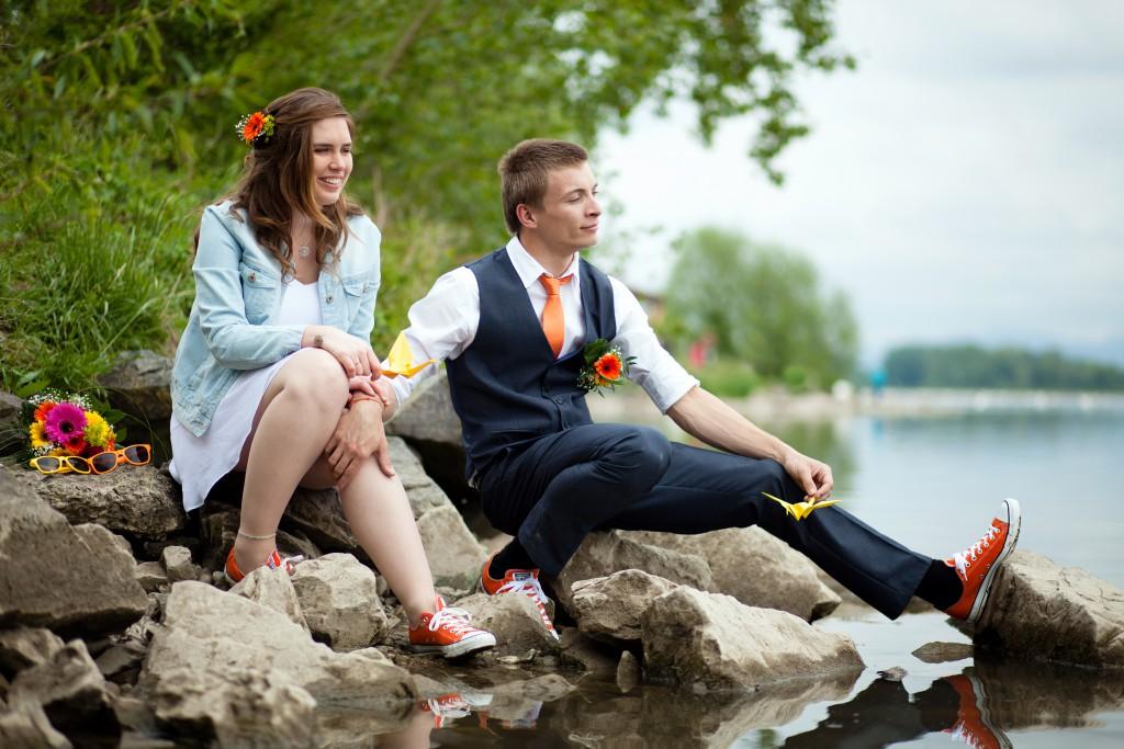 Notre séance photo pétillante, en orange et jaune // Photo : Julia Lorber Photography