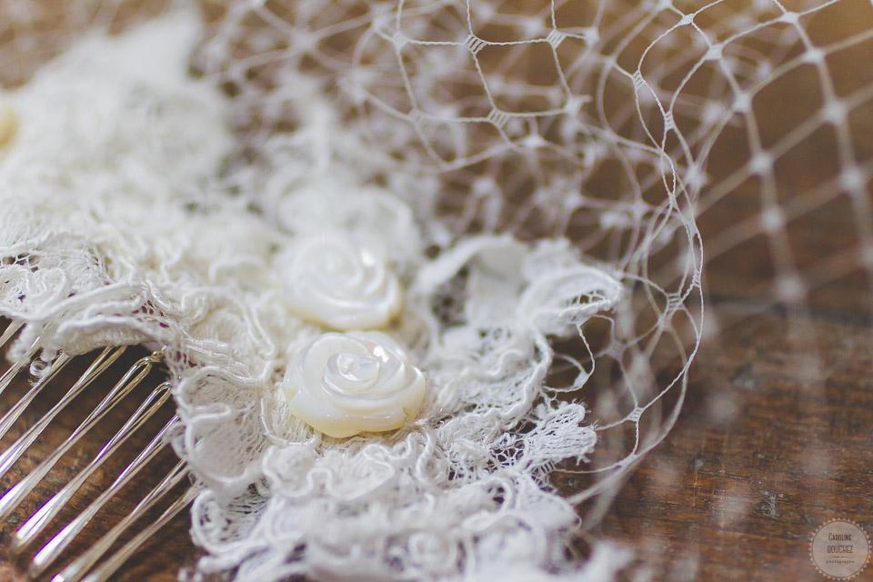 Une voilette Orchidée de Soie pour la mariée // Photo : Caroline Bouchez