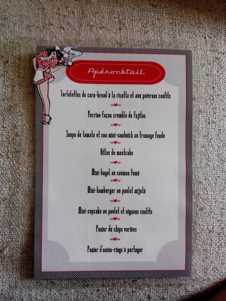 Aperçu de mes DIY réalisés pour le mariage : le menu, esprit rétro en rouge et noir