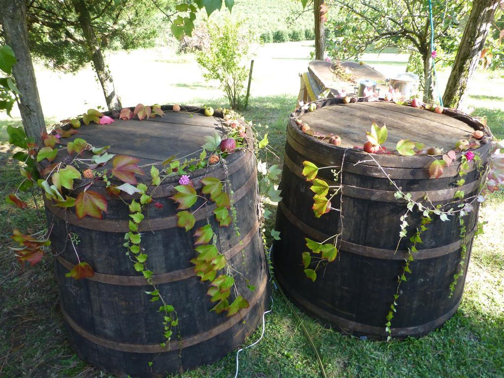 Le bar fait avec des tonneaux de vin !