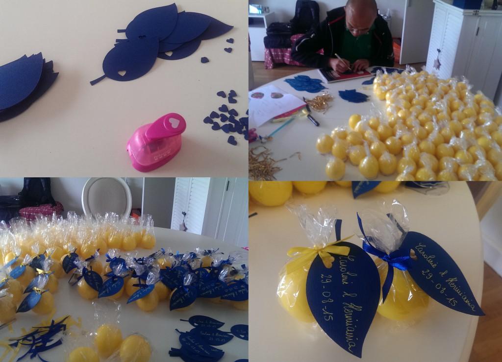 Cadeaux d'invités DIY pour mon mariage en jaune et bleu