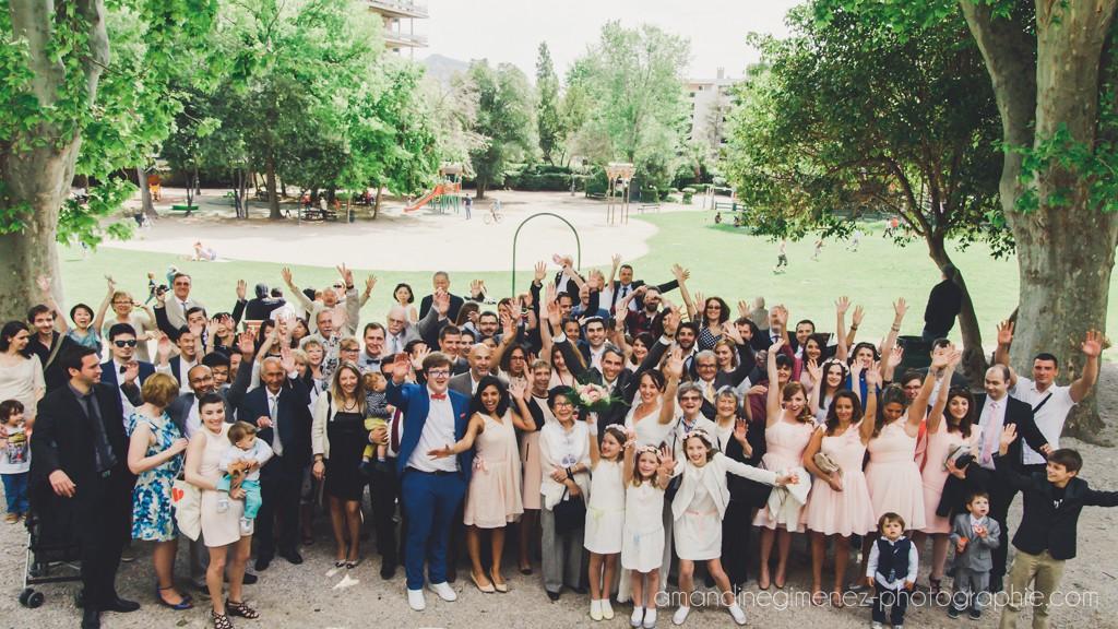 Sortie des mariés après la cérémonie civile  // Photo : Amandine Gimenez