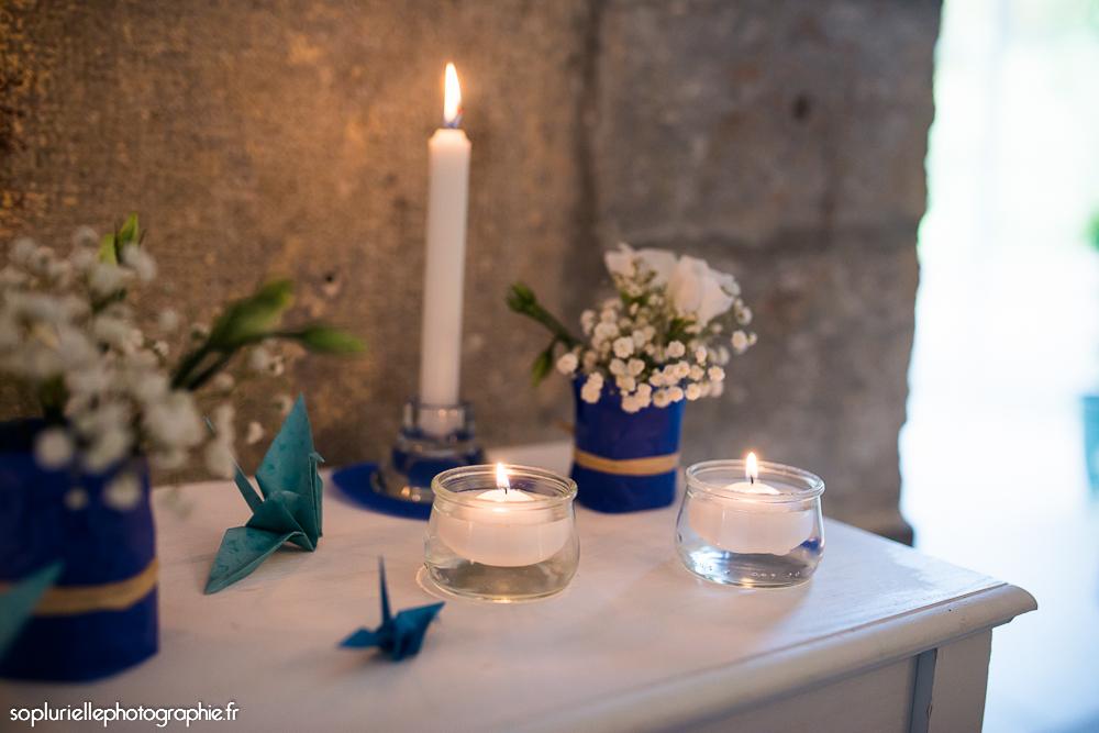 Mise en place de notre déco la veille du mariage // Photo : Sonia Blanc