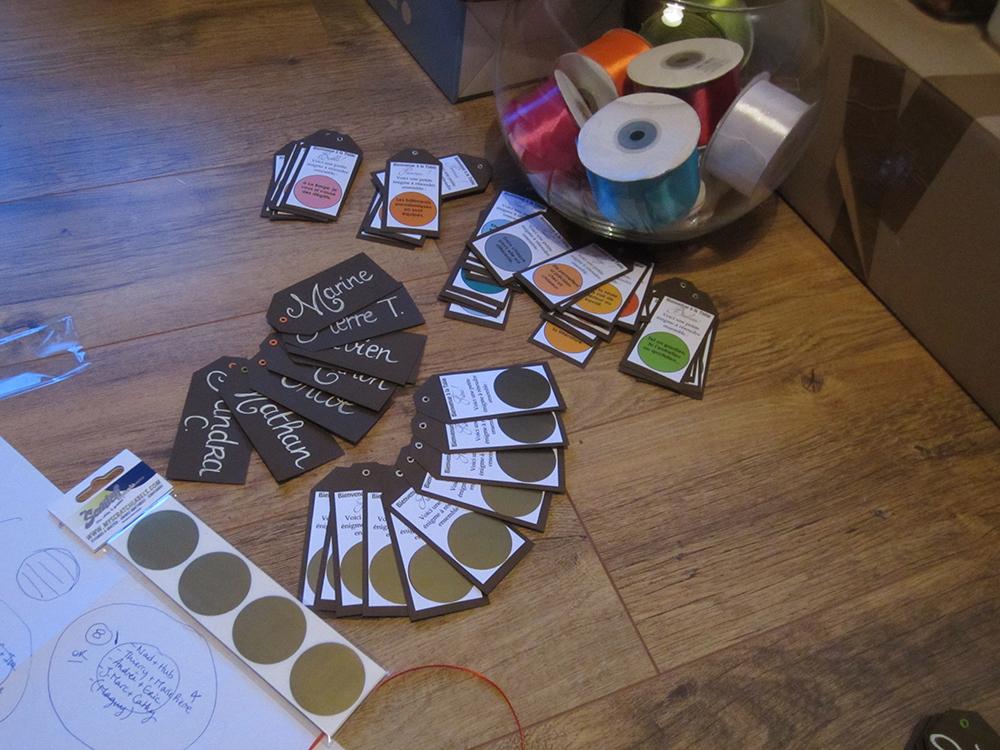 La réalisation de notre plan de table et des escord-cards