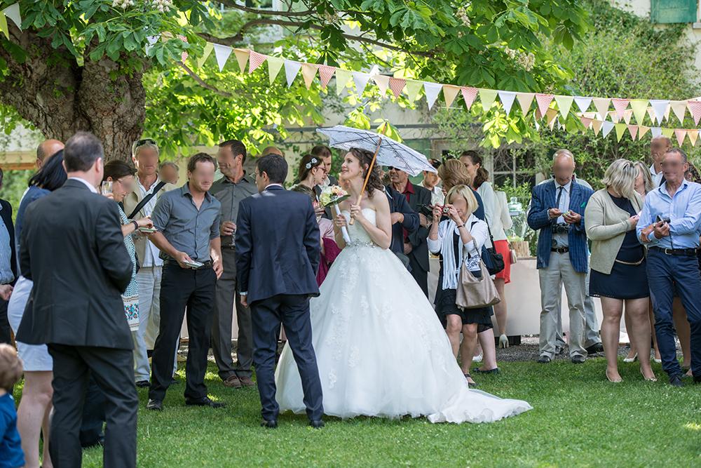 Mon garden wedding à la montagne : notre arrivée au vin d'honneur