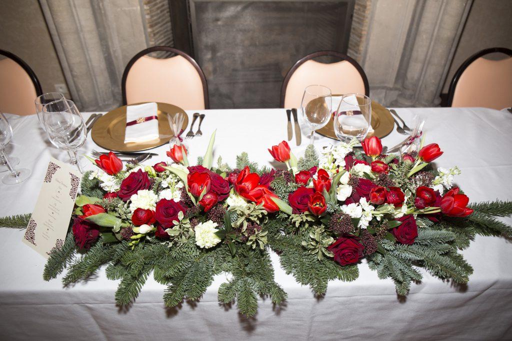 Table des mariés mariage d'hiver
