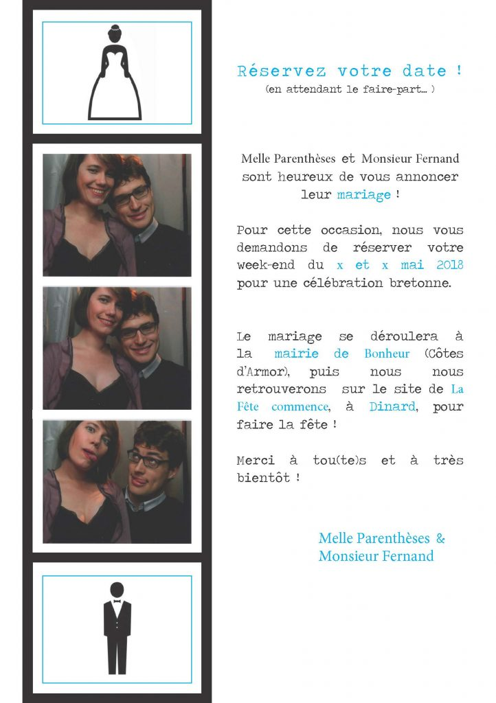 Save-the-date électronique - Format photomaton