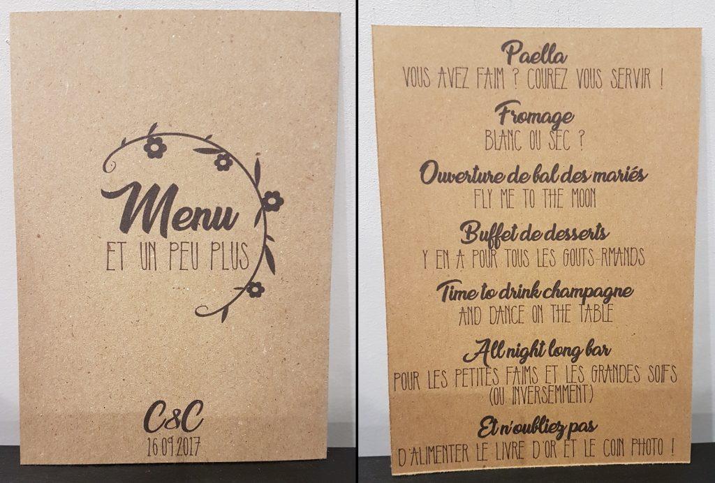 DIY décoration de salle : menus