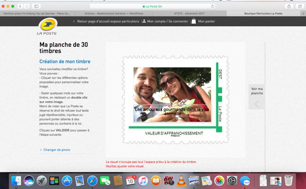 Remerciements de mariage avec photos et timbres personnalisés