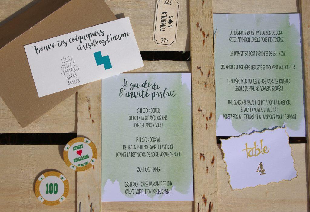Mon mariage dino-chic : des enveloppes pour nos invités