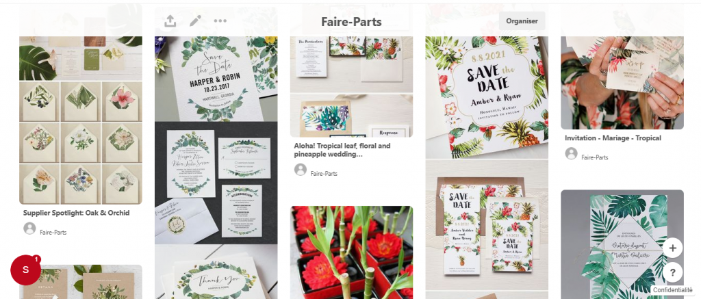 Capture Pinterest inspiration faire part Mlle Framboise