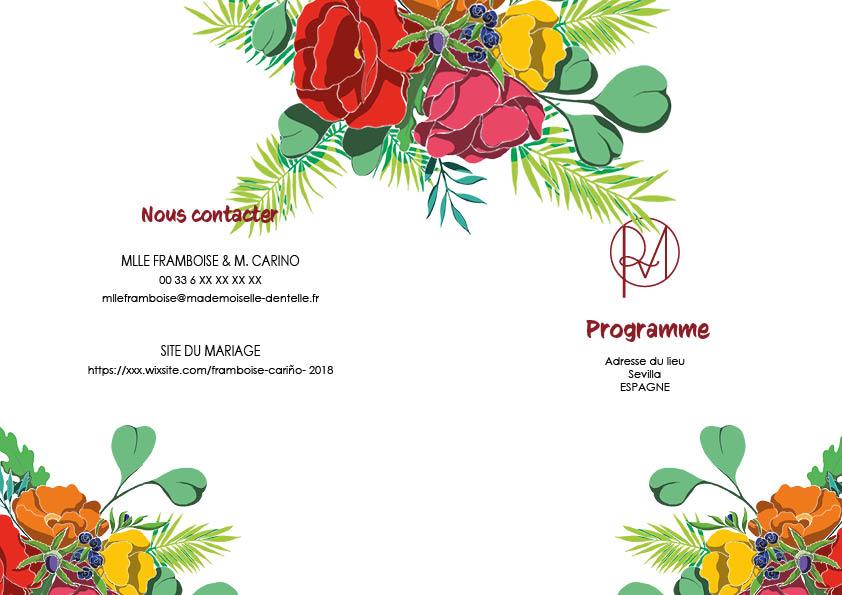 Programme mariage coloré Mlle Framboise