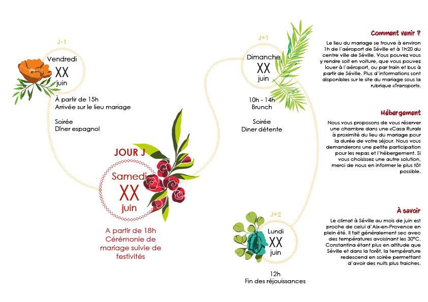 Programme mariage coloré de Mlle Framboise
