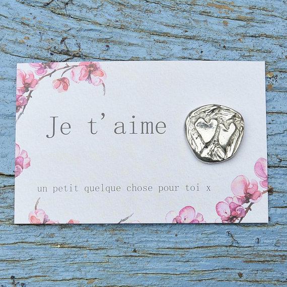 Ma wishlist Etsy : du bleu et du made in France - Carte Je t'aime - médaillon argent