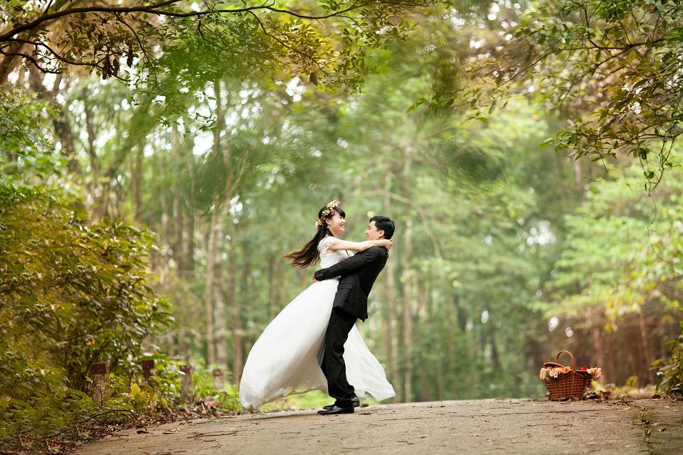 Photo de mariage style buccolique