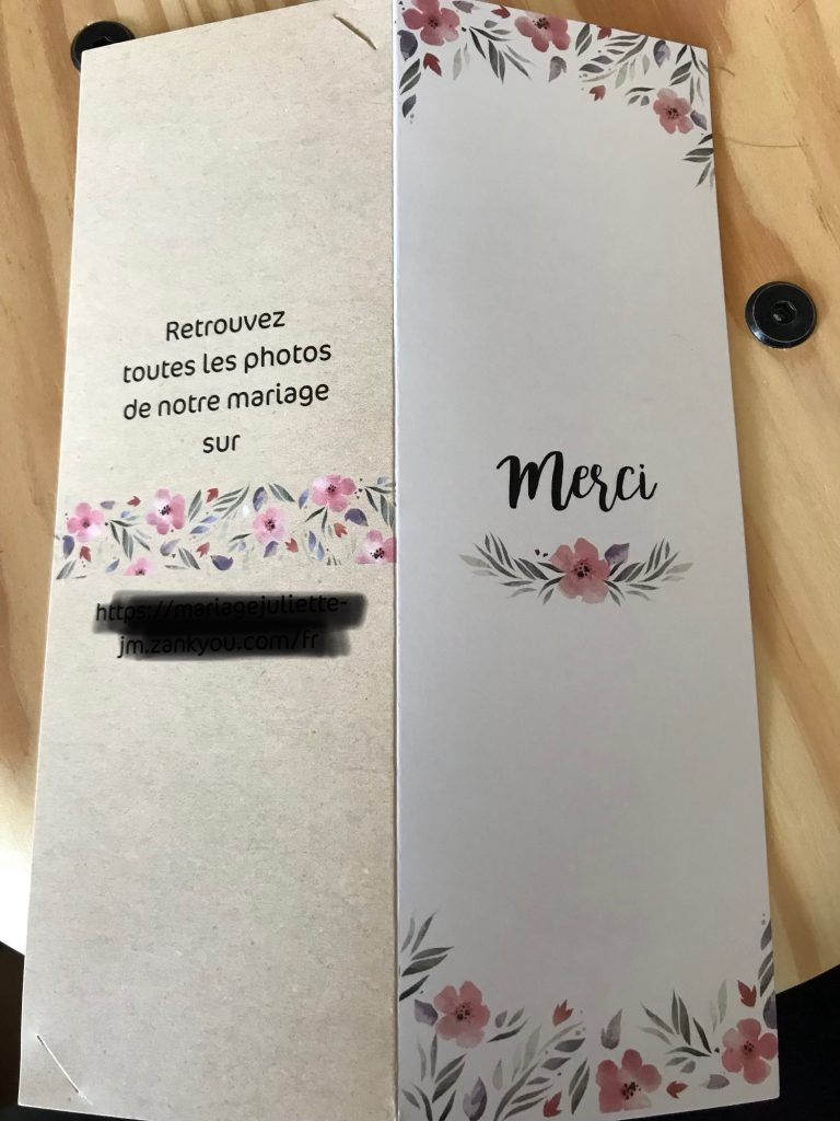 Remerciements de notre mariage