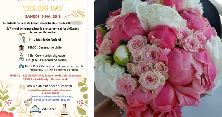 Le mariage romantique en fleurs et corail de Carine