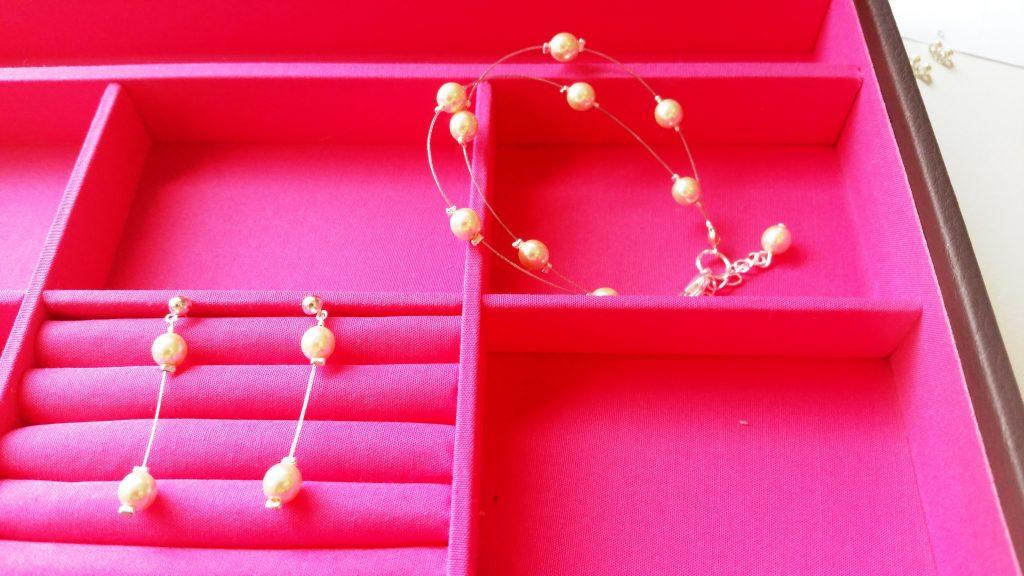 boucles d'oreilles et bracelet mariage