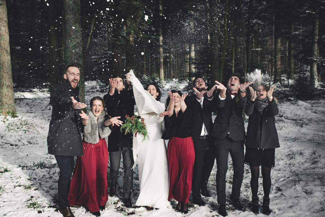 Photos de groupe sous la neige