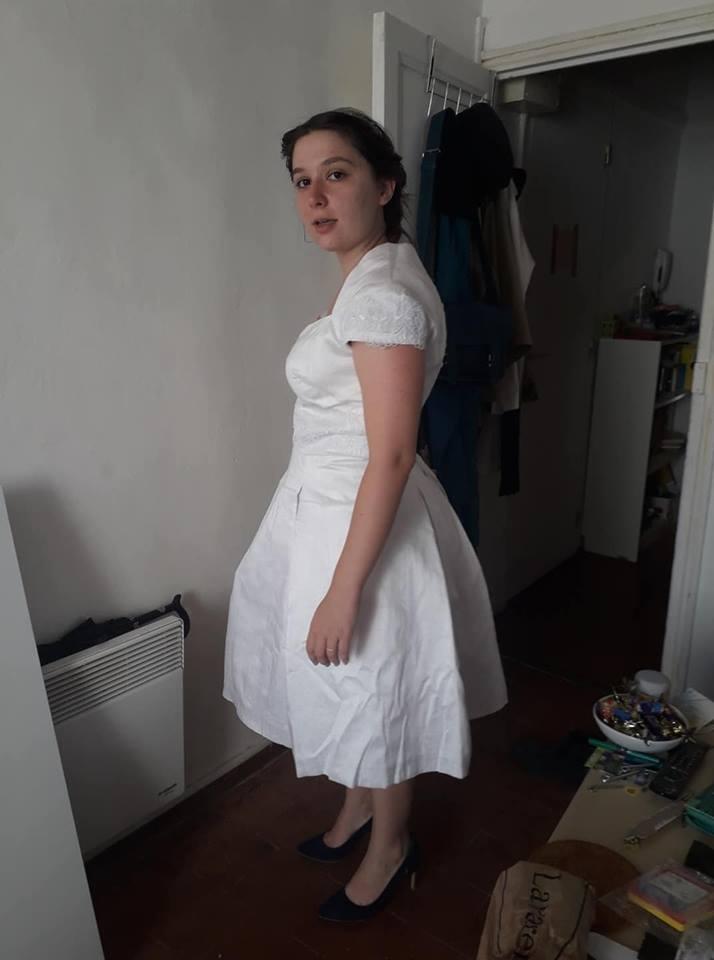 Ma robe de mariée courte, confectionnée par ma maman