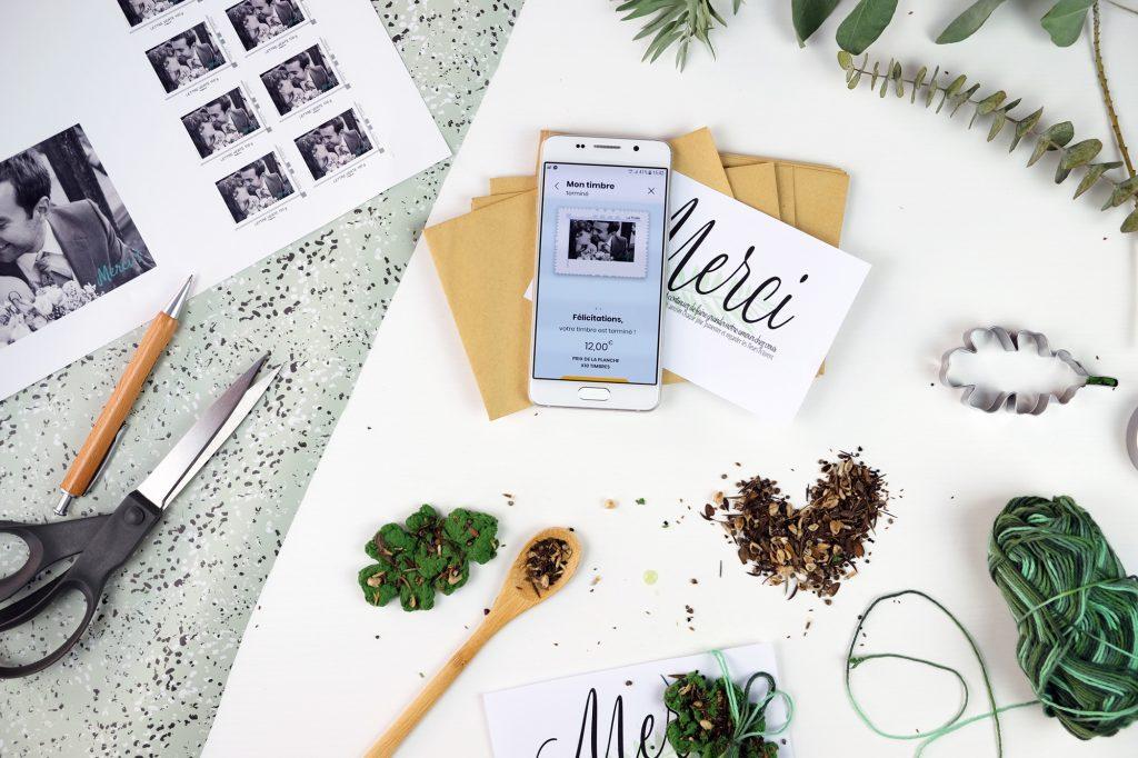 DIY papeterie mariage avec carte à planter et timbre personnalisé La Poste