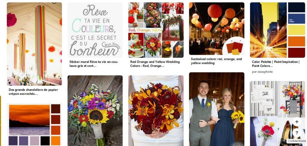 Les couleurs du mariage en jaune, rouge, orange et bleu nuit