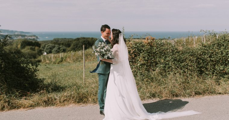 Mon mariage végétal d'automne au Pays Basque : notre first-look entre terre et mer