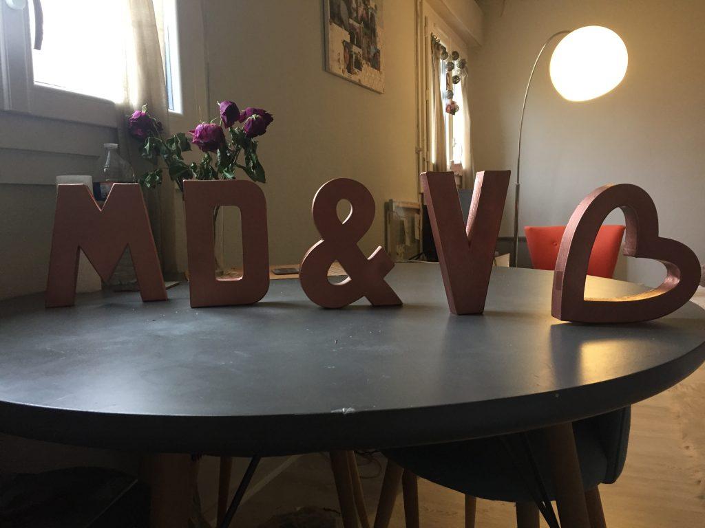 La déco DIY du mariage : nos initiales