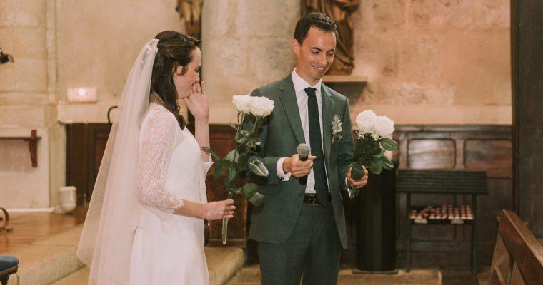 Mon mariage végétal d'automne au Pays Basque : un début de cérémonie religieuse, placé sous le signe de l'émotion