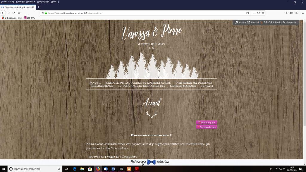 Le faire-part parfait et le site Internet coordonné de chez Petit Mariage entre Amis pour mon mariage d'hiver !