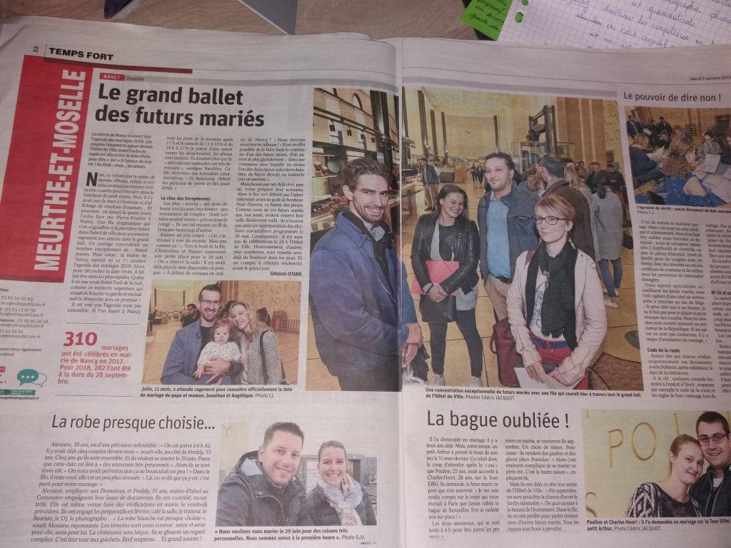 """Est Republicain """"Le grand ballet des futurs mariés"""""""