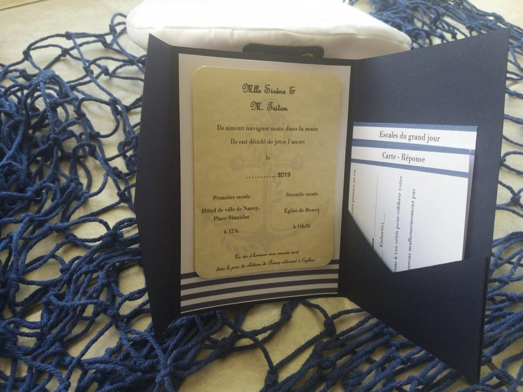 Nos faire-part pocketfold DIY sur le thème marin