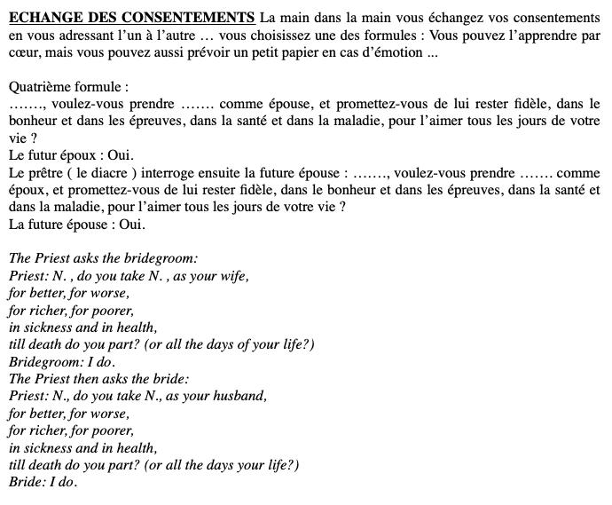 Préparatifs, déroulement et livrets de messe d'une cérémonie religieuse bilingue franco-anglaise