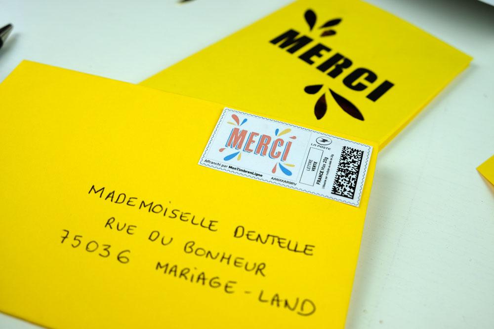 DIY papeterie de mariage et timbres à imprimer chez soi avec La Poste