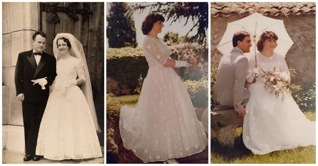 Porter la robe de mariée de ma grand-mère et de ma maman...